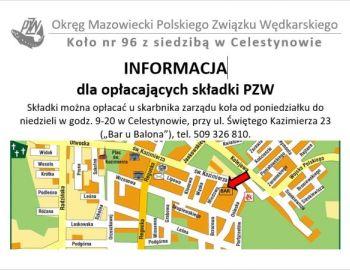 Informacja dla wędkarzy chcących opłacić składkę na 2018 rok w OM PZW.