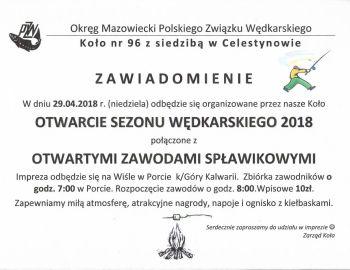 Zapraszamy na pierwsze w sezonie 2018 zawody wędkarskie koła nr. 96 OM PZW!