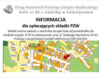 Informacja dla wędkarzy chcących opłacić składkę na 2019 rok w OM PZW.